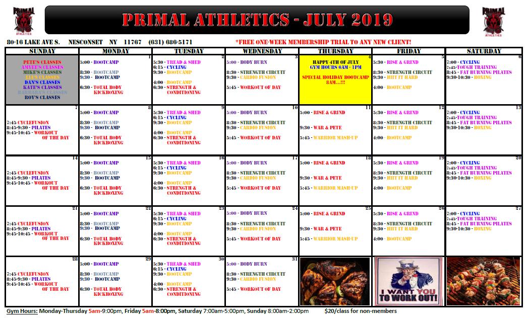 July Calendar 2019